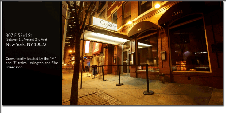 Exterior shot of Copia (taken from Copianyc.com)